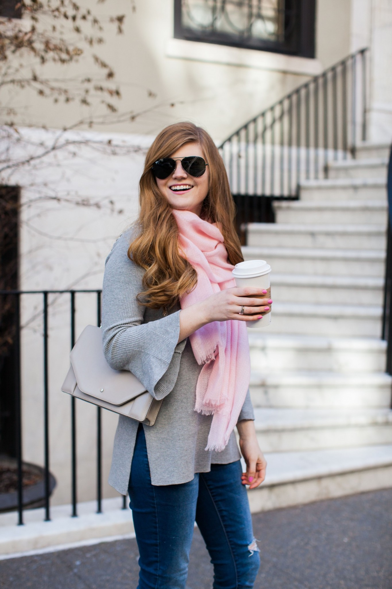 Lifestyle blogger Mollie Sheperdson shares a blush and grey spring look