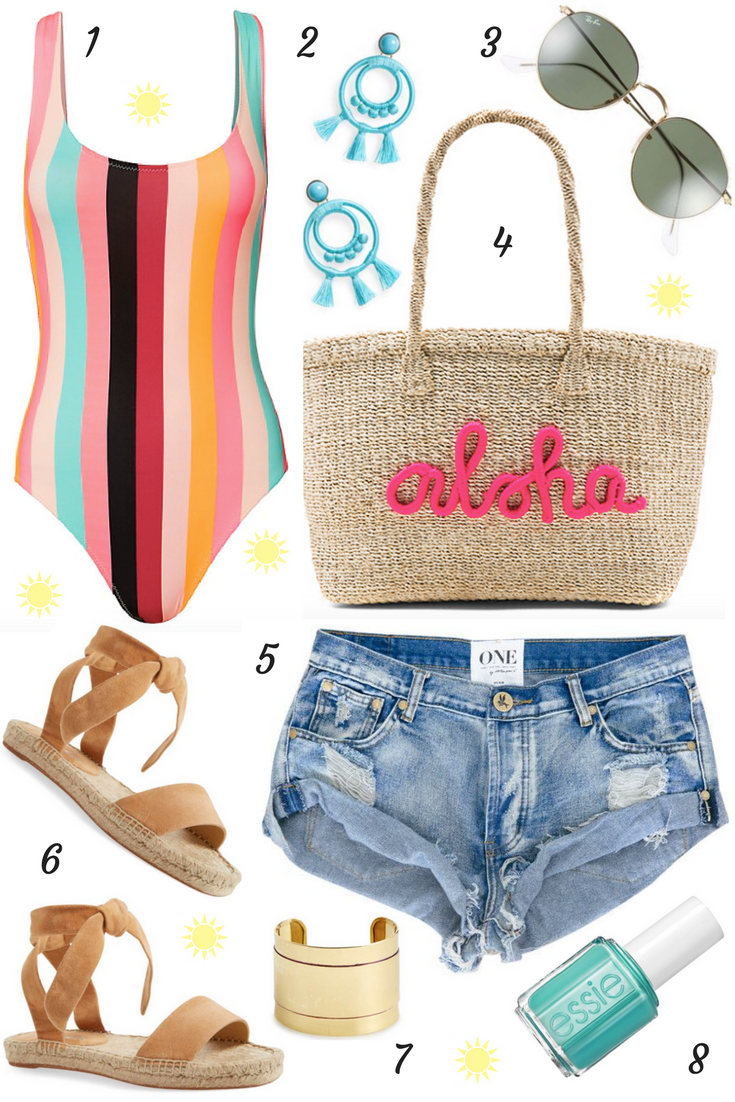 Lifestyle blogger Mollie Moore shares a colorful beach look